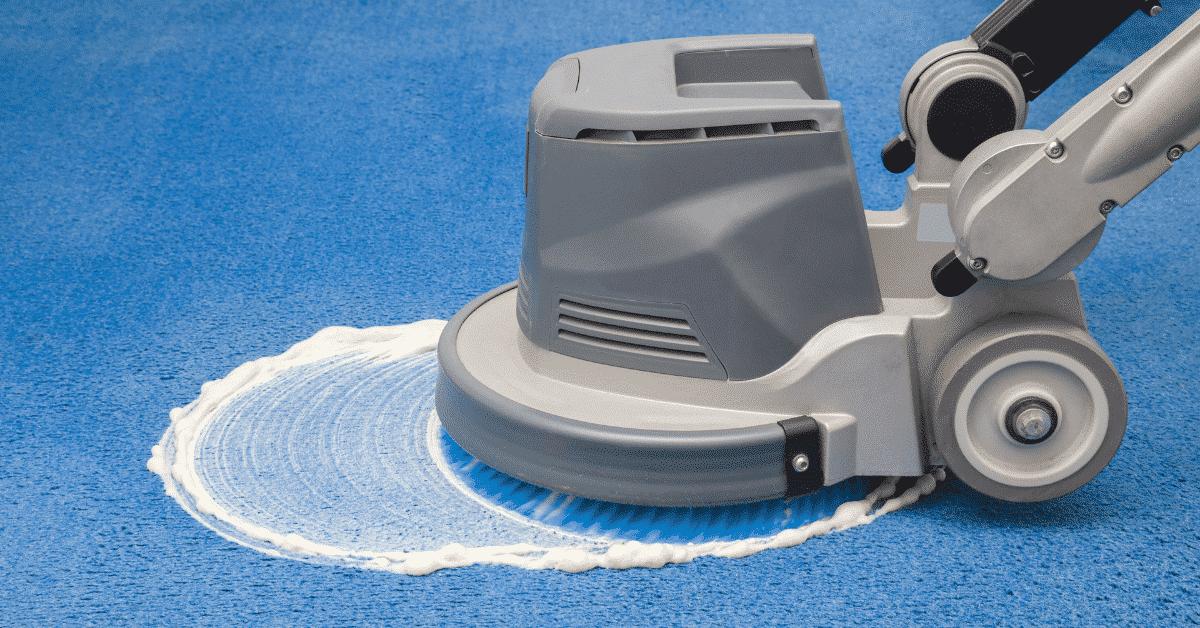 machine scrubbing office carpet